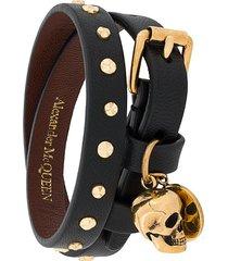 alexander mcqueen hammered studs double-wrap bracelet - black