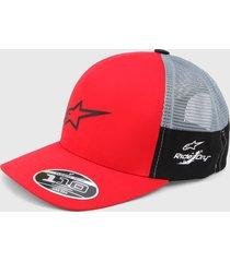 gorra rojo-gris alpinestars