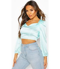 petite tie detail volume sleeve satin top, mint