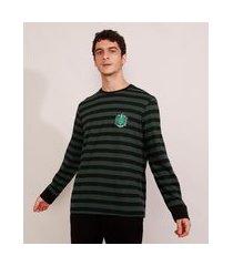 camiseta masculina listrada harry potter sonserina manga longa gola careca verde escuro