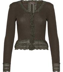 silk cardigan short ls w/wide lace gebreide trui cardigan groen rosemunde