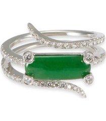 diamond jadeite 18k white gold cutout ring