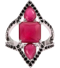 anel prin the ring boutique pedras cristais vermelho rubi ródio ouro branco
