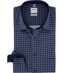 donkerblauw geprint shirt olymp luxor comfort fit