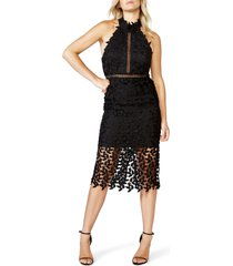 women's bardot gemma halter lace sheath dress