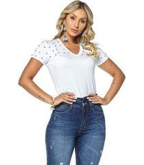 t-shirt daniela cristina gola v 01 602dc10284 branco pp - feminino