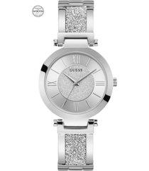 guess women's stainless steel & swarovski crystal bangle bracelet watch 36mm