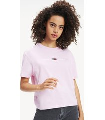 polera clean logo rosa tommy jeans
