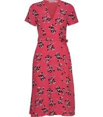 wrap floral dress knälång klänning rosa calvin klein jeans