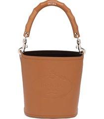 prada wooden handle bucket bag - brown