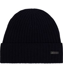 boss blue fati ribbed beanie hat