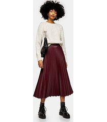 burgundy pleated pu midi skirt - burgundy