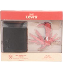 levi's men's rfid bifold wallet with multitool money clip gift set