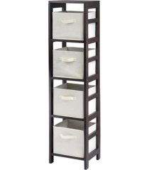 winsome capri 4-section n storage shelf with 4 foldable fabric baskets