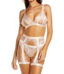 women's oh la la cheri open cup bralette, high waist panties & suspenders set, size large/x-large - pink