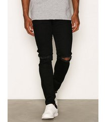 dr denim clark black ripped knees jeans black