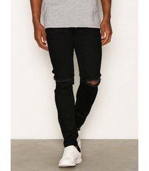 dr denim clark black ripped knees jeans black