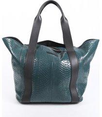 brunello cucinelli green black python snakeskin tote bag black/green sz: l