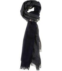 brunello cucinelli check pattern fringed edges scarf