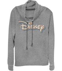 fifth sun women's disney logo disney retro rainbow fleece cowl neck sweatshirt