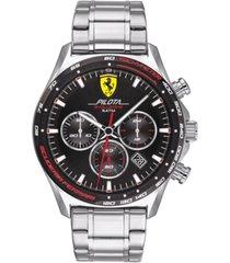 ferrari men's chronograph pilota evo stainless steel bracelet watch 44mm