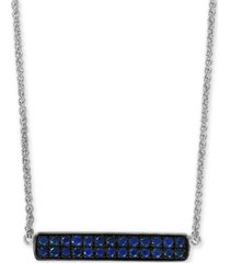 """effy sapphire cluster horizontal bar 18"""" pendant necklace (5/8 ct. t.w.) in sterling silver"""