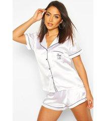 satijnen geborduurde 'bride to be' blouse en shorts set, white