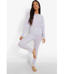 petite gestreepte pyjama set met top en legging, grey marl