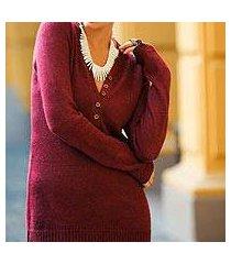 alpaca blend sweater, 'cuzco cherry' (peru)