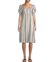 alice + olivia by stacey bendet women's baueery striped dress - cream blue - size 0