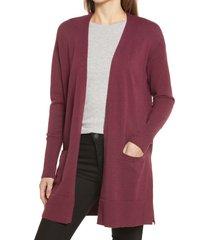 women's halogen open front cardigan, size xx-large - burgundy