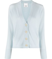 allude ribbed-detail cardigan - blue