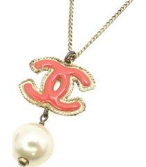 chanel cc faux pearl necklace pink, white sz:
