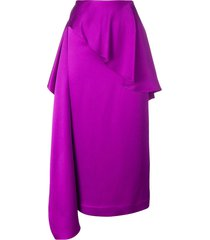 chalayan side sash ruffled skirt - purple