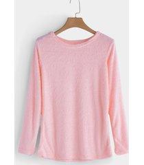 rosa casual round cuello camiseta fuzzy manga larga