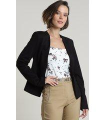 blazer feminino acinturado com aviamento preto