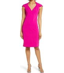 women's badgley mischka collection odessa pleat cocktail dress, size 12 - pink