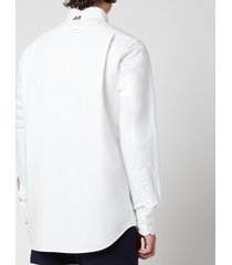 thom browne men's seamed four-bar sleeve straight fit button down shirt - white - 4/xl
