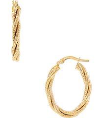 14k yellow gold braided oval hoop earrings