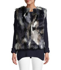 multicolored faux fur vest