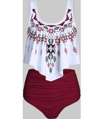 ethnic geometric print high waisted asymmetrical tankini swimwear