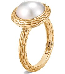 'classic chain' freshwater pearl 18k yellow gold ring