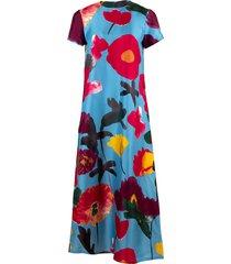 prom azzurro silk twill swing dress