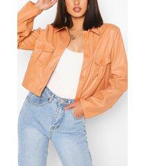 pu pocket front boxy jacket, peach