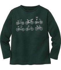 shirt met lange mouw fiets, groen 110/116