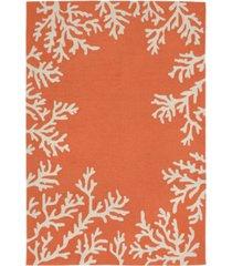 liora manne' capri 1620 coral border 2' x 8' indoor/outdoor runner area rug