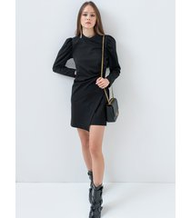 motivi vestito con drappeggio donna nero