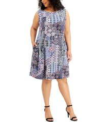 connected plus size printed a-line dress