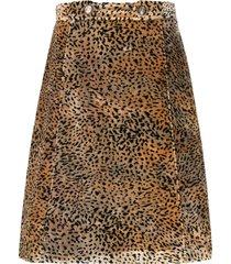 etro animal-print skirt - brown