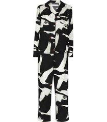 desmond & dempsey leda swan print pajama set - black
